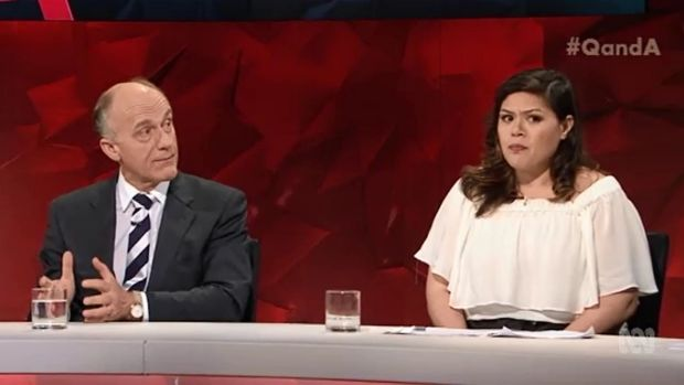 Eric Abetz and Nakkiah Lui on Q&A Photo: ABC
