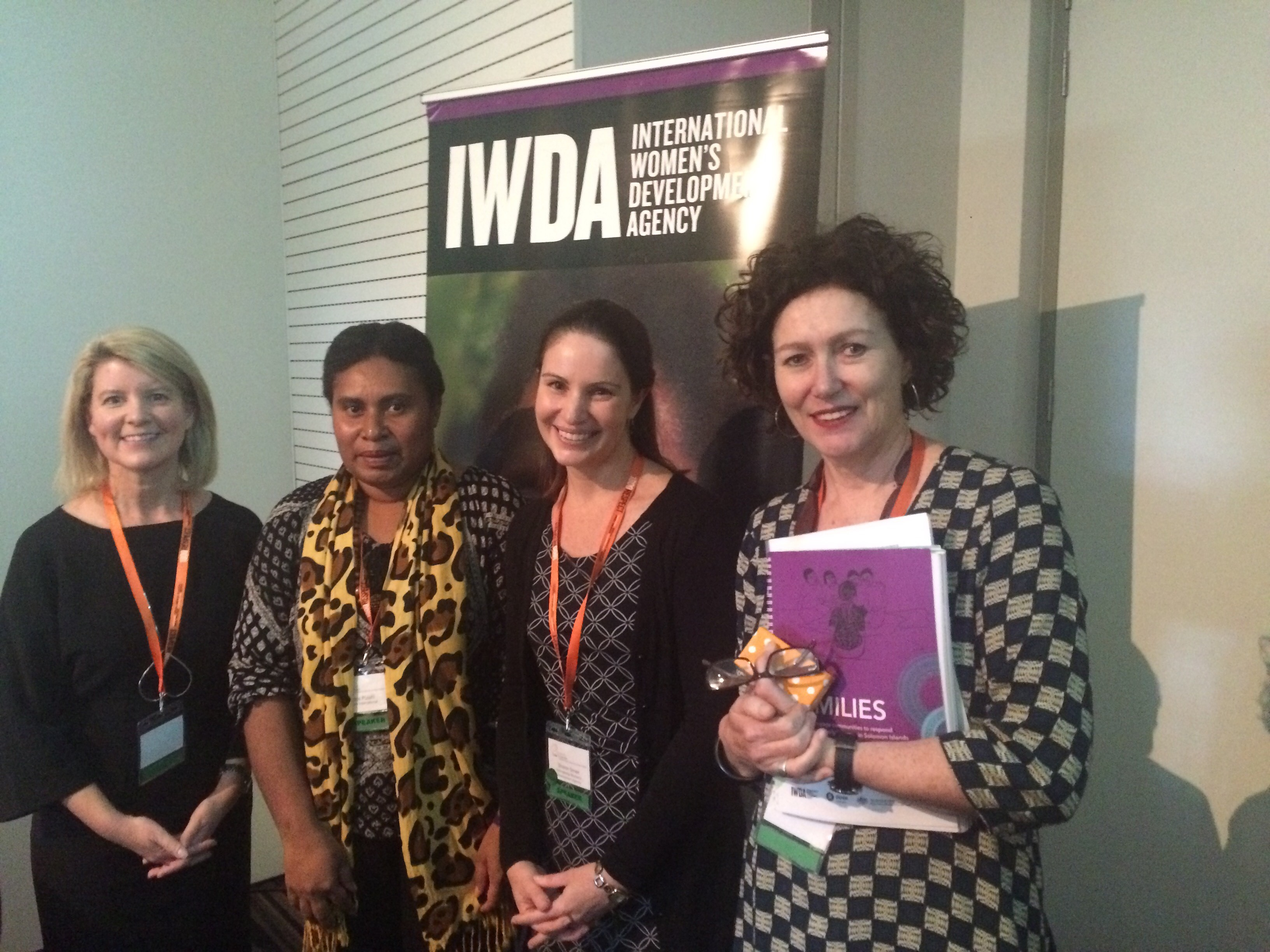 Natasha Stott Despoja, Ambassador for Women and Girls, Doris Puiahi from Oxfam Safe Families project in Solomon Islands, and IWDA's Sharon Smee and Felicity Rourke. Photo: Steph Lusby