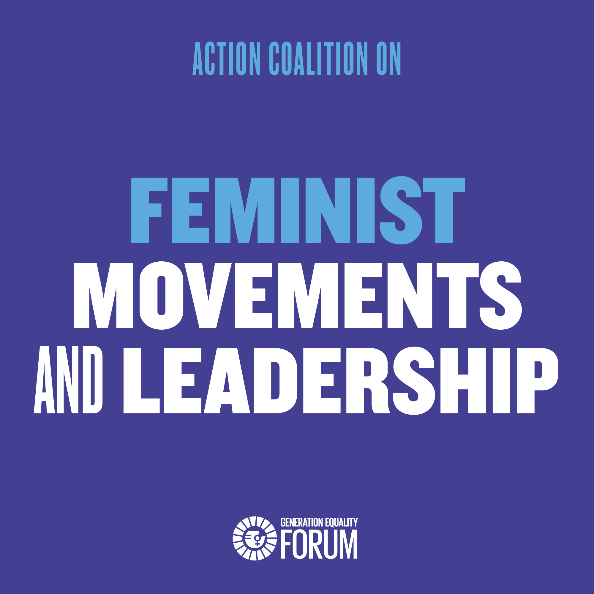 Blue sqaure with text that says Feminist Movements and Leadership