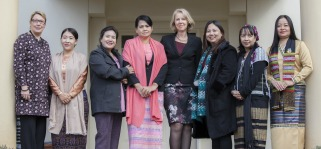 Image of Myanmar MPs standing on the Dutch Ambassador's step in Canberra