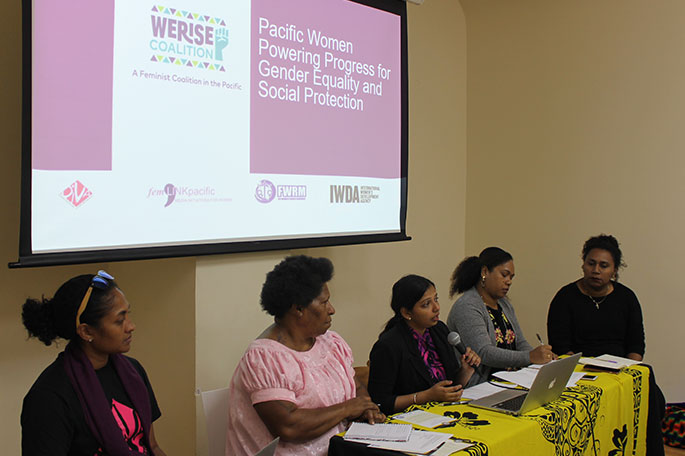 Members of the We Rise coalition at CSW 63 in March 2019