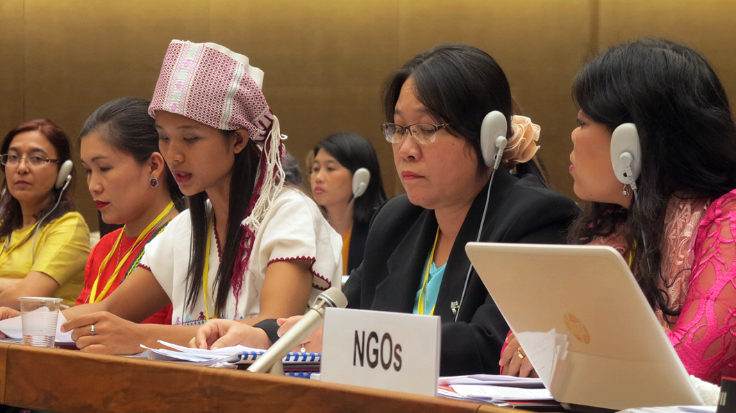 Myanmar's NGO delegation make their joint statement to the CEDAW Committee. Photo: Di Di, Women's League of Burma