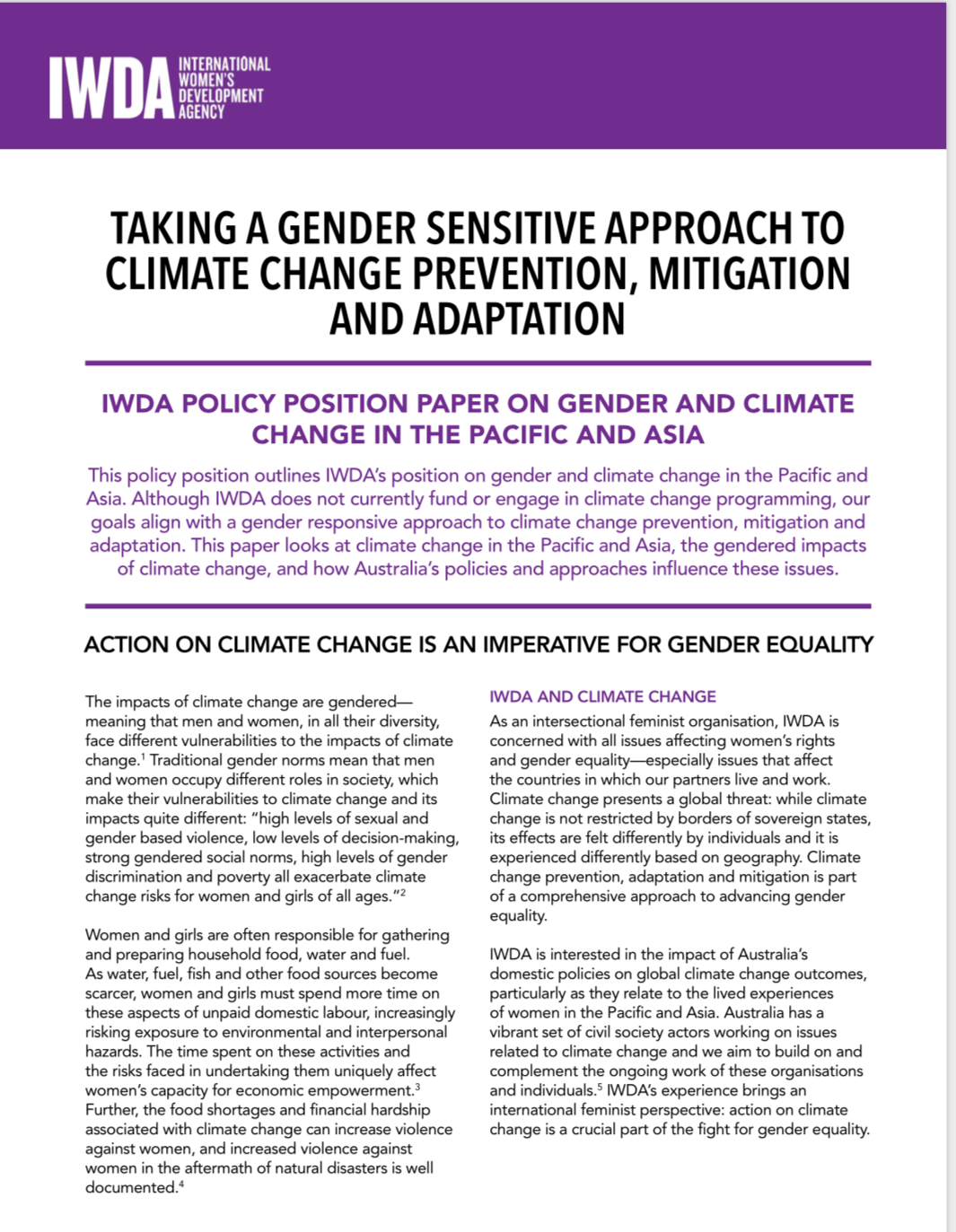 IWDA climate change policy paper