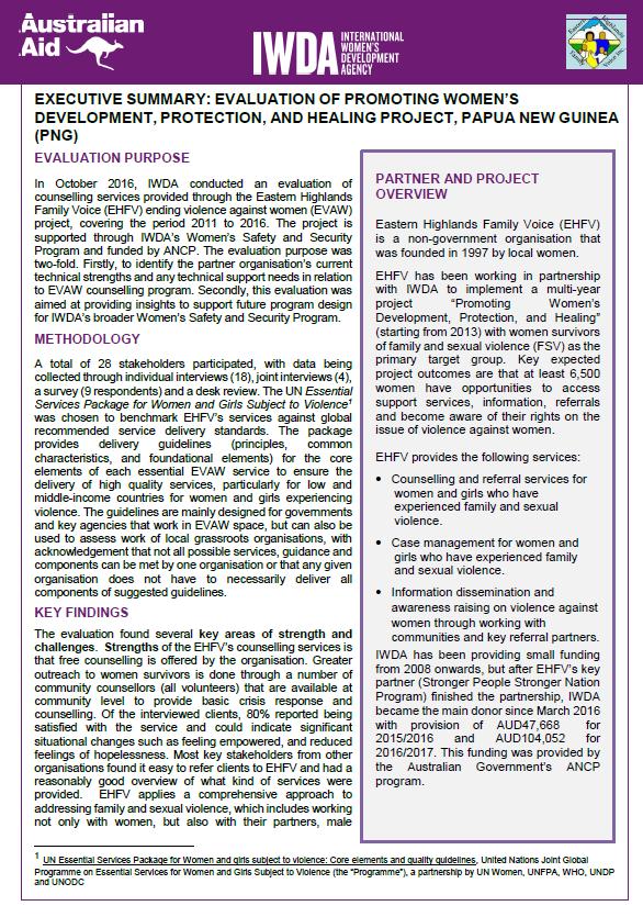 Executive Summary - EHFV project