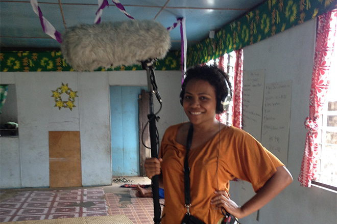 Paulini Turagabeci, an alumni of the Emerging Female Leader Program, assisting filmmakers. Photo: Bronwyn Tilbury