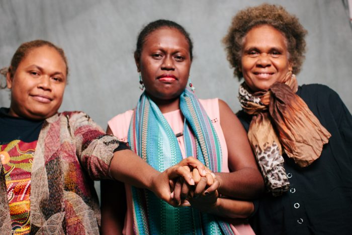 Loisy Auariri Wate of West 'Are'Are Rokotanikeni Association, Donna Makini of Women's Rights Action Movement, and Alice Aruhe'eta Pollard of West 'Are'Are Rokotanikeni Association. Photo: Gemma Carr