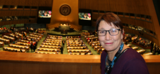 Image of Jo Hayter at the United Nations for the Commission on the Status of Women (CSW)