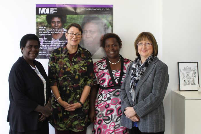 Rose Pihei (President of Bougainville Women's Federation), Joanna Hayter (CEO of International Women's Development Agency), Barbara Tanne (Executive Director of Bougainville Women's Federation) and Kirsten Mander (Chair of IWDA's Board)