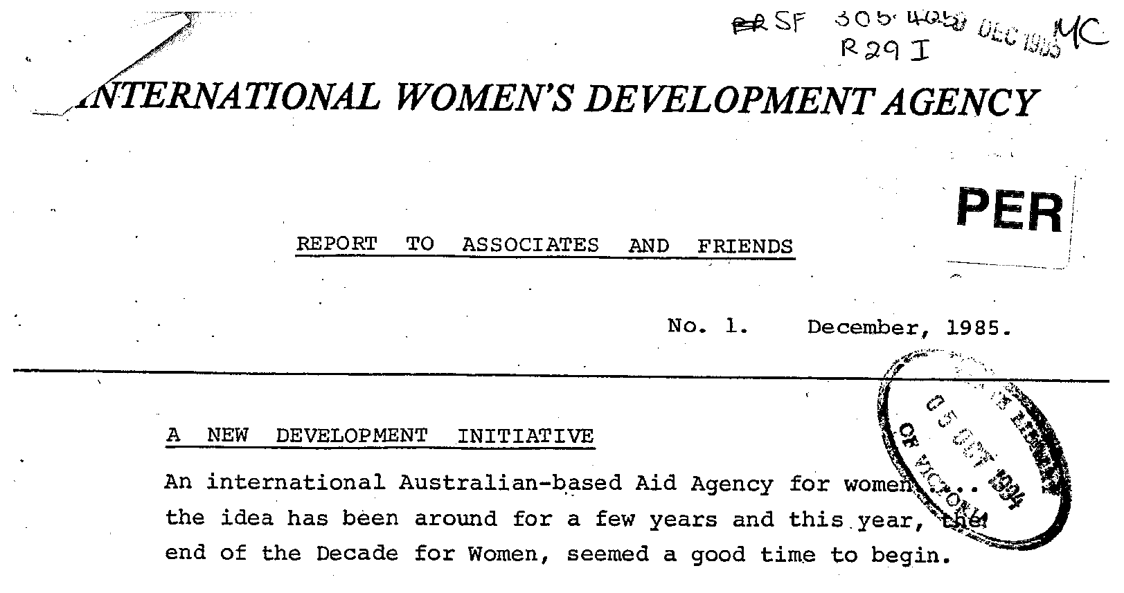 Black and white scanned copy of IWDA report from 1985