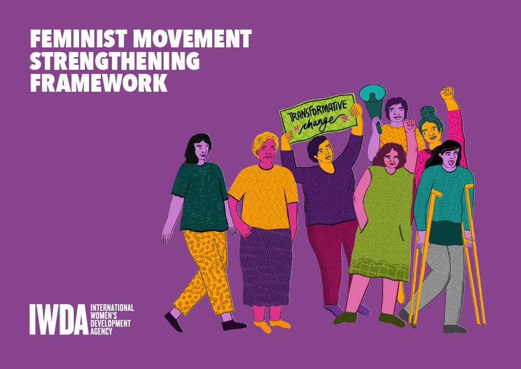 purple background and illustration of feminist activists walking together