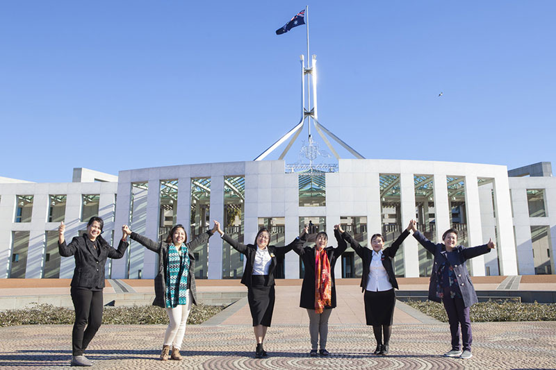 Myanmar women MPs at Canberra's Parliament House.