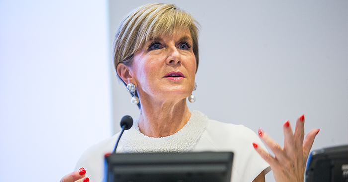 Julie Bishop at the 2017 Australasian Aid Conference. Photo: Stuart Hay/ANU