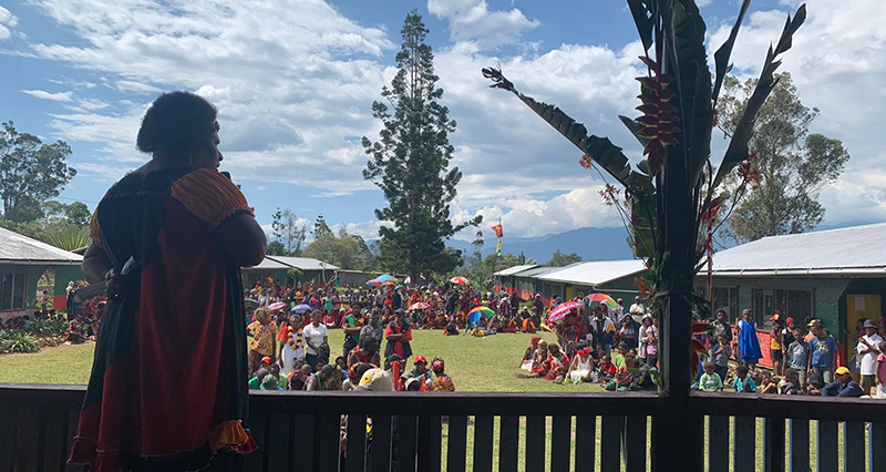 Lilly BeSoer Kolts of Voice for Change Jiwaka PNG addressing crowd to call for more women in decision-making spaces