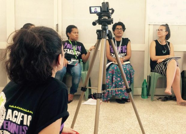 An image of filming during the first ever Pacific Feminist Forum in Fiji.