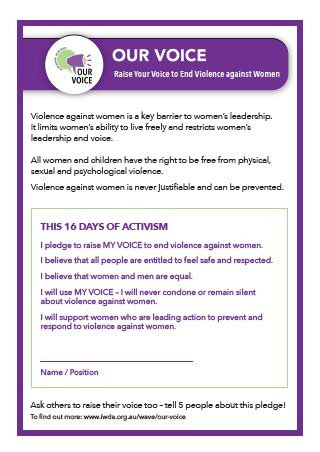 Our Voice 16 Days of Activism Pledge. Our Voice is part of the WAVE program.