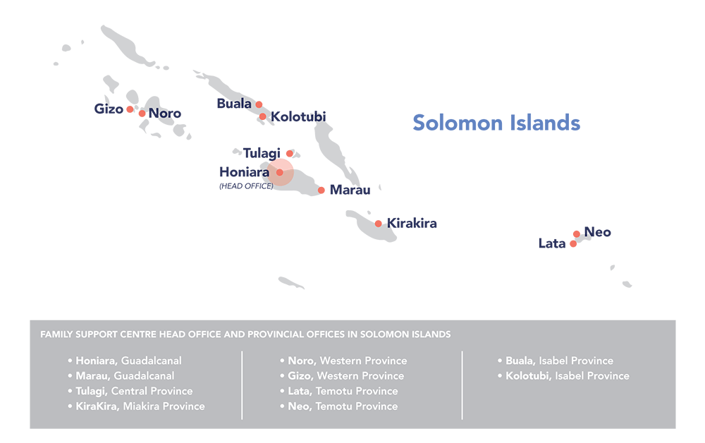map of locations where FSC works in Solomon Islands