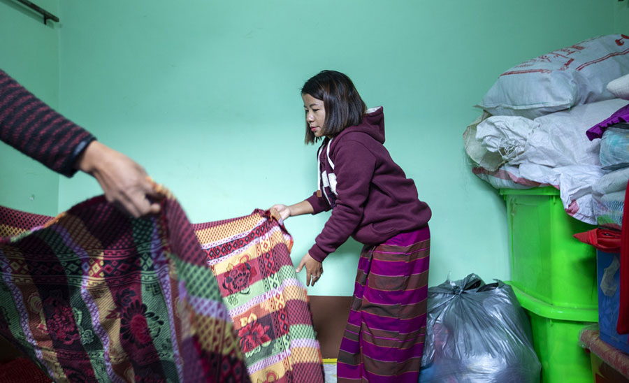 TWO staff prepare temporary accommodation for clients at TWO's Gender Based Violence Crisis Support Centre in Myanmar.