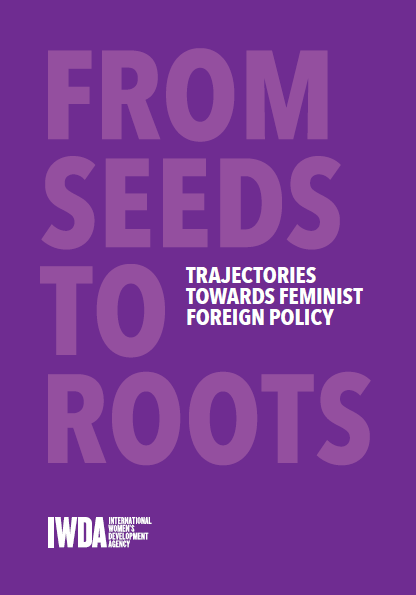 Purple background with text that says Trajectories towards Feminist Foreign Policy