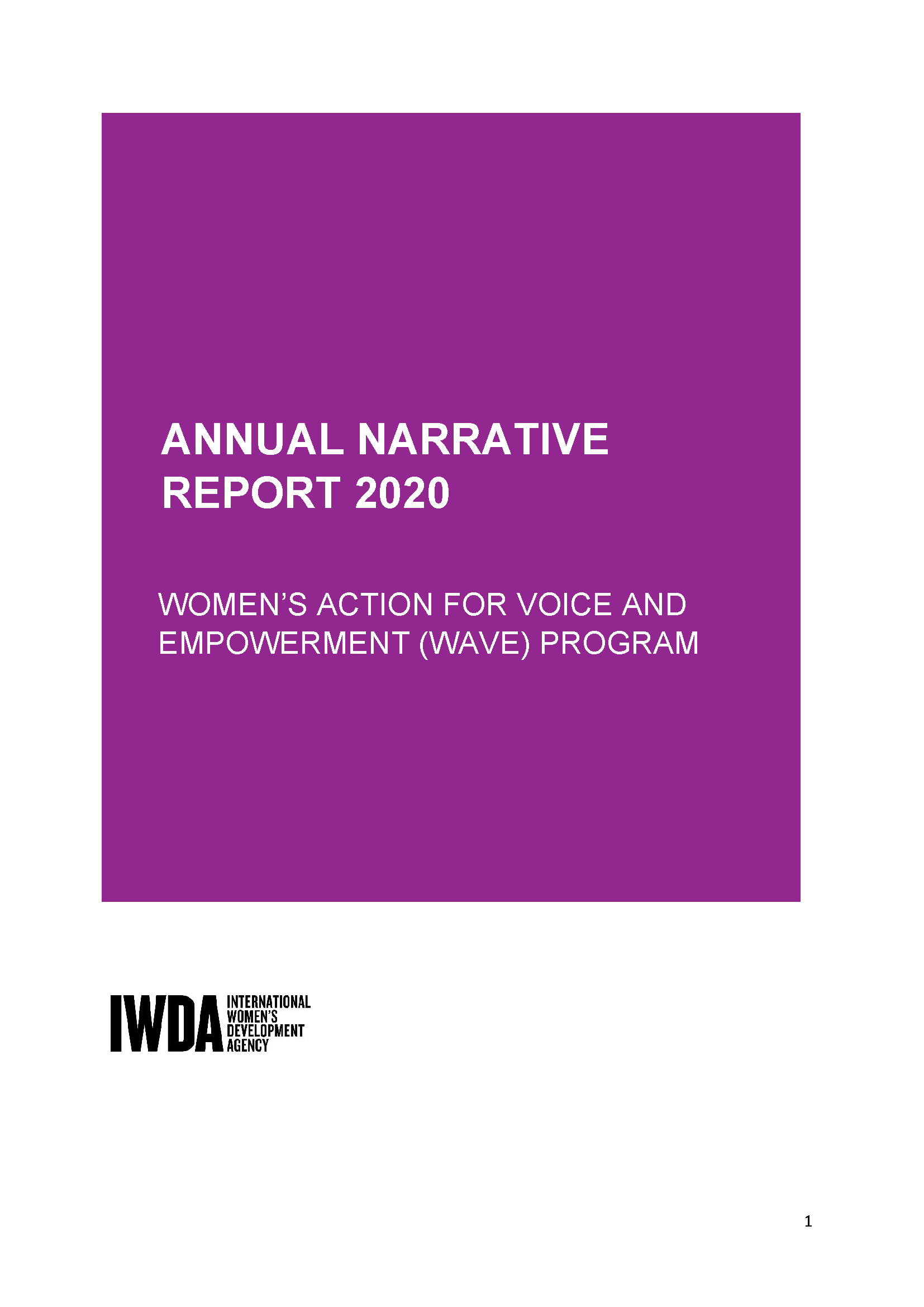 Purple background with white text heading that says 'Annual Narrative Report 2020'
