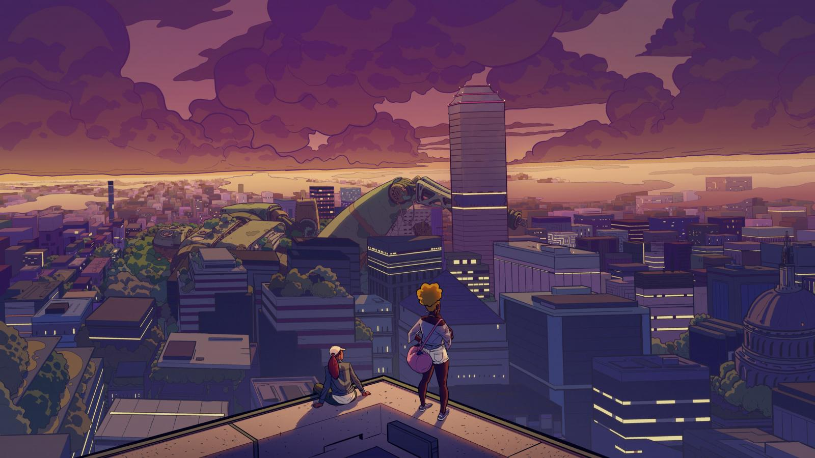 Illustrated Afrofuturist scene with two people looking out over a city