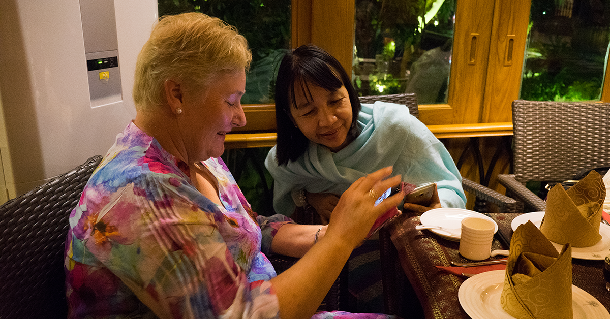 Ann Sudmalis sharing a meal with Chris Htun. Photo: Shwe Wutt Hmon