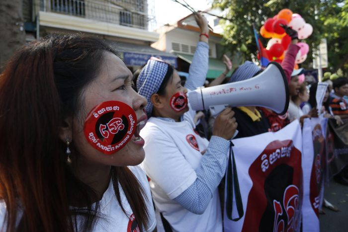 Women protest against new law in Cambodia. Photo: Siv Channa/The Cambodia Daily