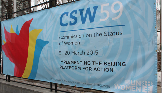 CSW59 sign outside UN Headquarters in New York