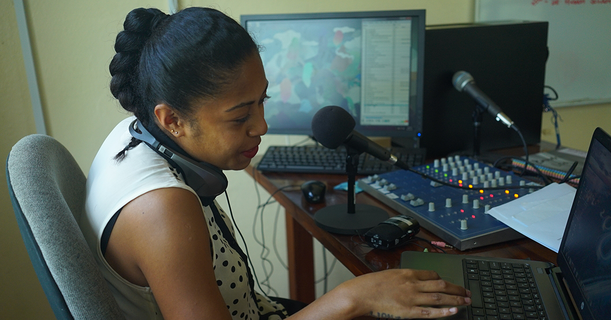 FemLINKPACIFIC's radio broadcast in action. Photo: Donna Yeatman