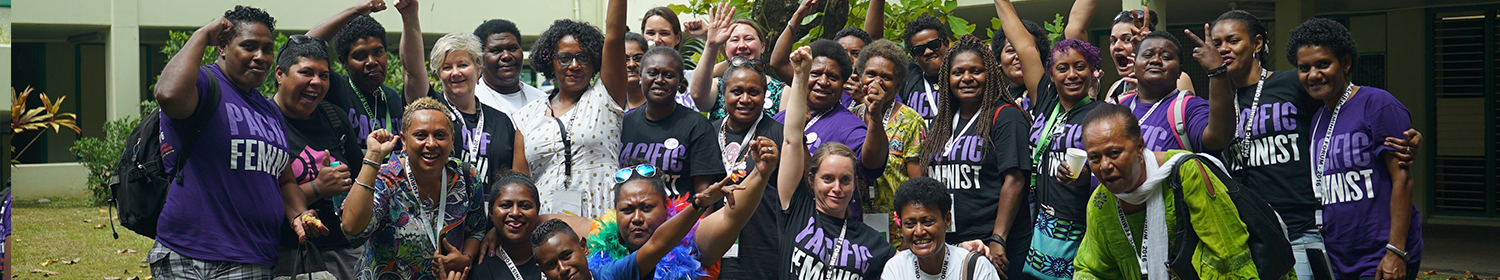 Image of women in Fiji looking at camera during Pacific feminist forum