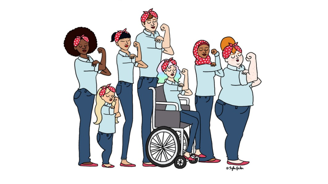 Illustration of 7 women in the Rosie the Riveter pose. Each woman is a different size, colour, religion and one is in a wheelchair.