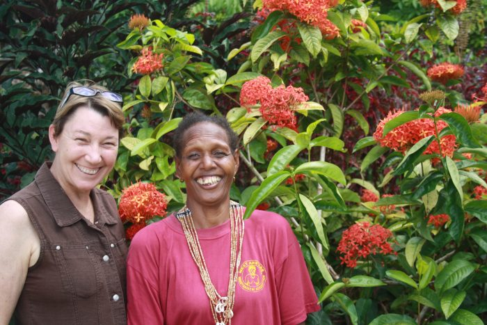 Joanna Hayter, IWDA Executive DIrector, and Janet Airahui, Co-Convener of WARA. Photo: Jo Brislane