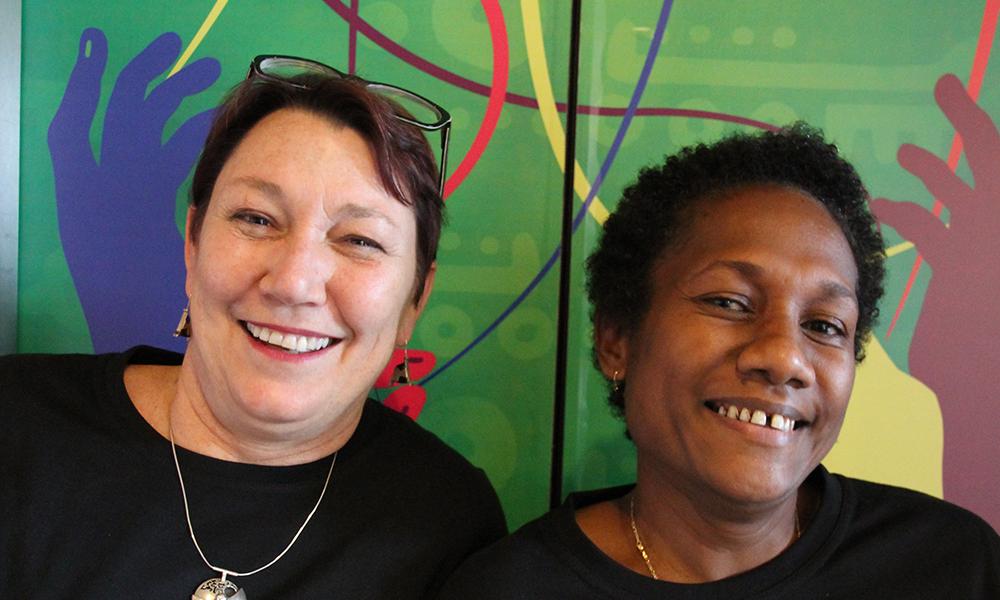 IWDA CEO Joanna Hayter and Annika Kingmele of Women's Rights Action Movement. Photo: Jen Clark