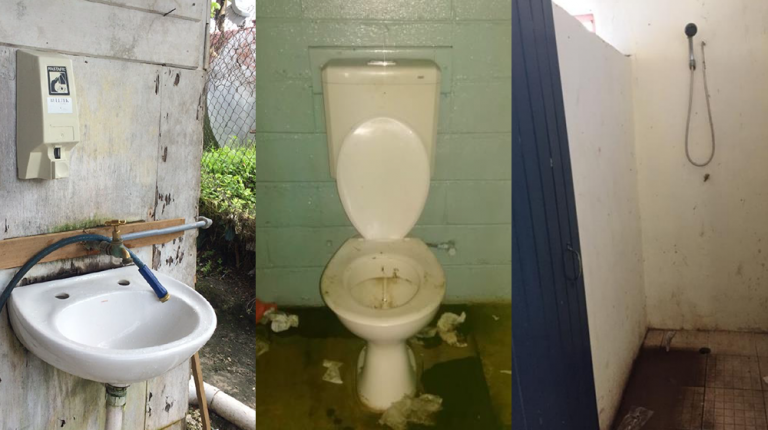 Image of sink, toilet and washing facilities.
