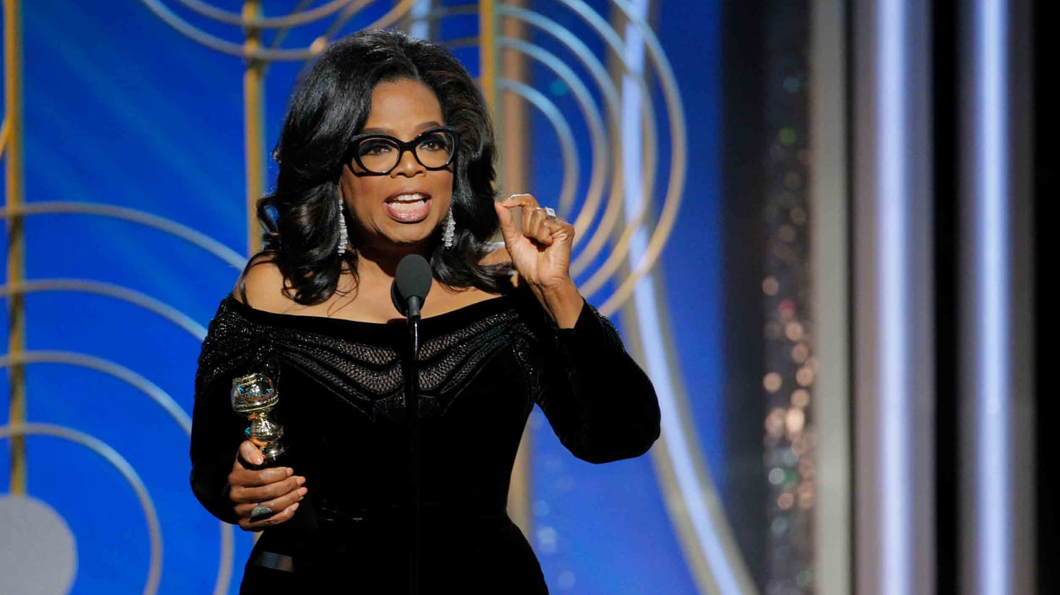 Oprah Winfrey at the 2018 Golden Globes. Photo: Paul Drinkwater/Getty