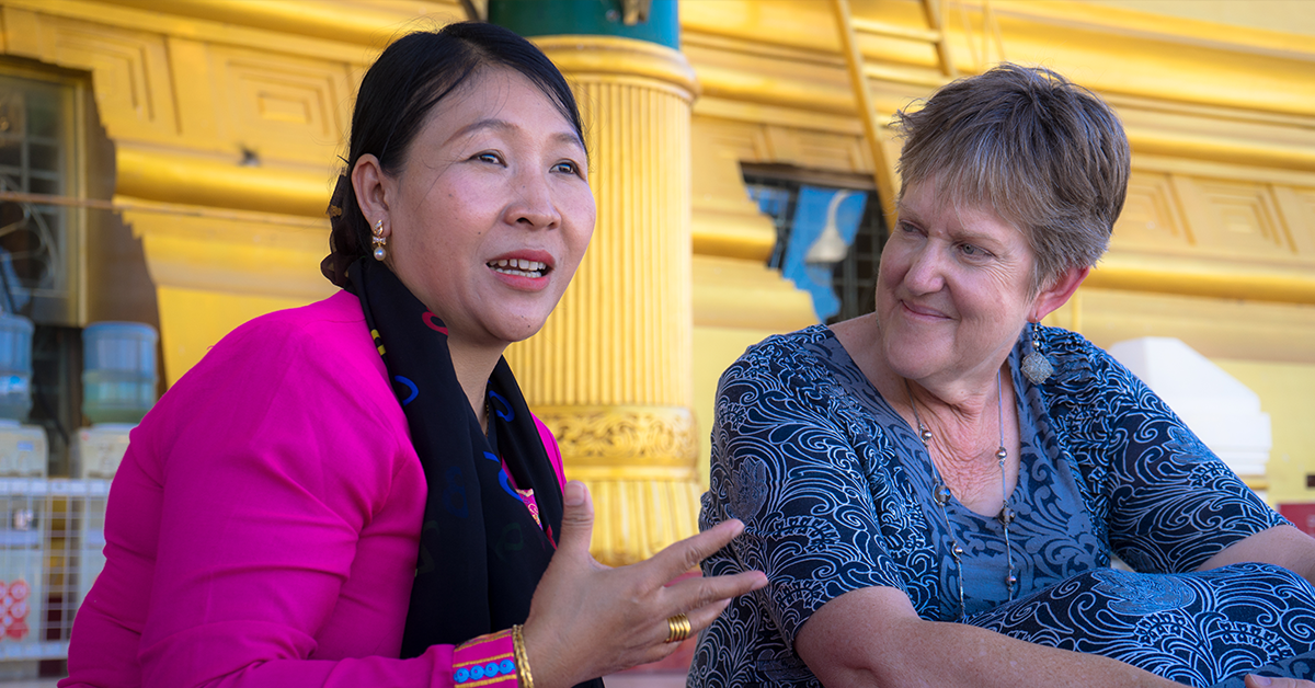 Nan Htwe Thu and Penny Wright at Uppatasanti Pagoda. Photo: Shwe Wutt Hmon
