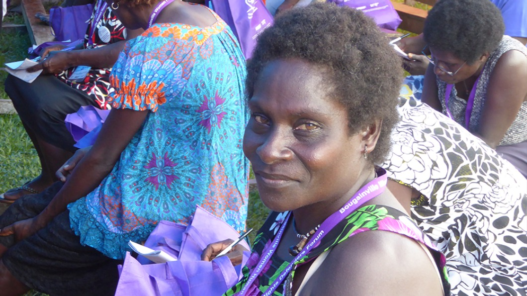 Image of a woman participating at the Bougainville Women Human Rights Defenders Forum