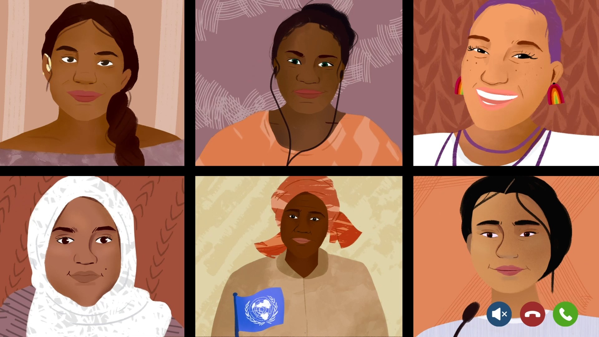 Illustration of young women from across the world in a zoom call
